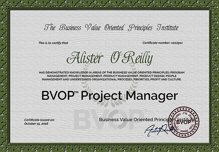 BVOP Project Product and People management Certificate
