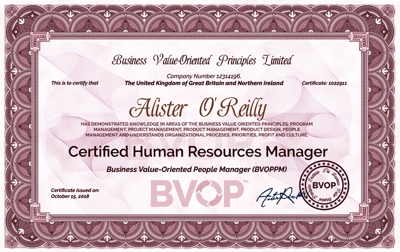 Human Resources Manager Certificate