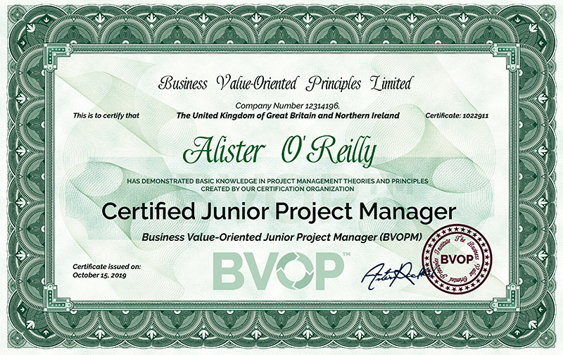 Free Junior Project Manager Certificate for students and graduates