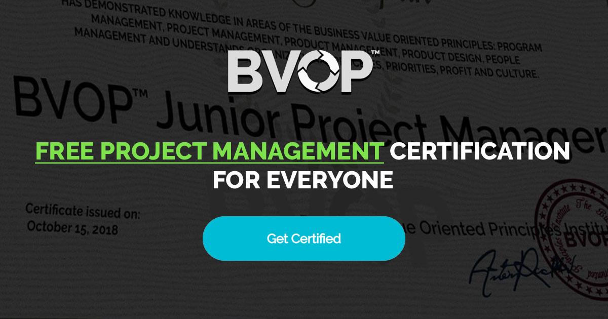 Free Project Management Certification Junior Project Management